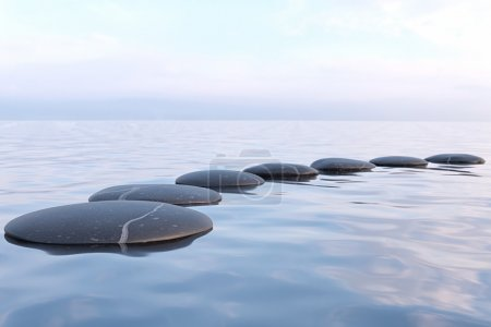 Photo pour Pierres zen dans l'eau avec réflexion - concept de relaxation de méditation de paix - image libre de droit