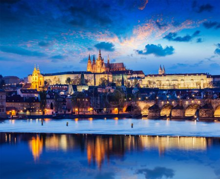 Charles Bridge and Prague Castle in twilight