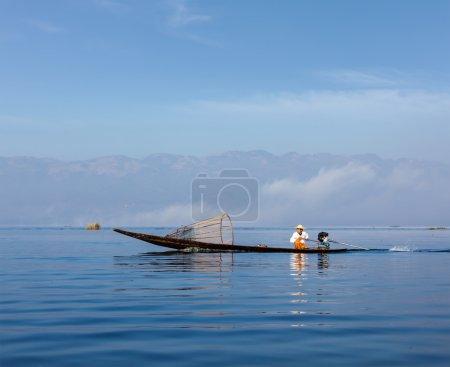 traditioneller burmesischer Fischer in Myanmar