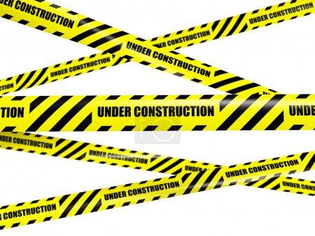Yellow warning caution ribbon tape on white