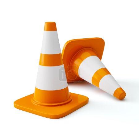 Orange highway traffic construction cones