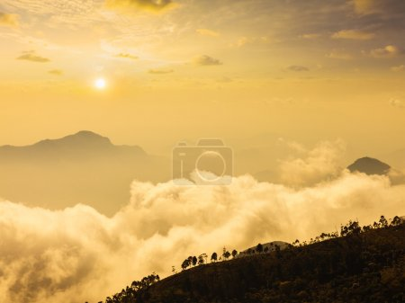 Mountains in clouds. Kodaikanal, Tamil Nadu