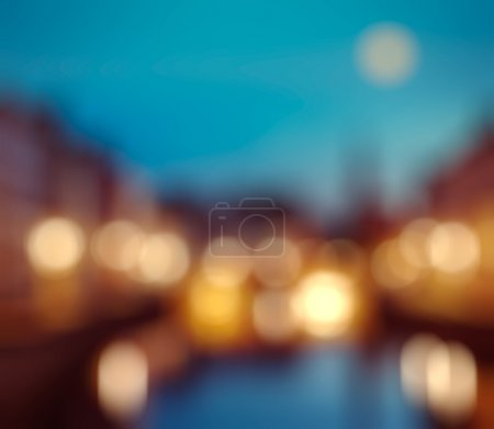 Defocused blurred background of European city
