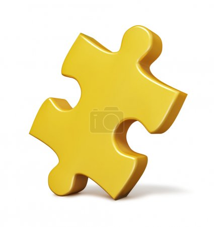 Photo for Single yellow puzzle piece isolated on white background - Royalty Free Image