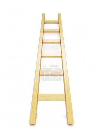 Wooden ladder near white wall