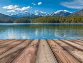 Wooden planks background with lake, Germany