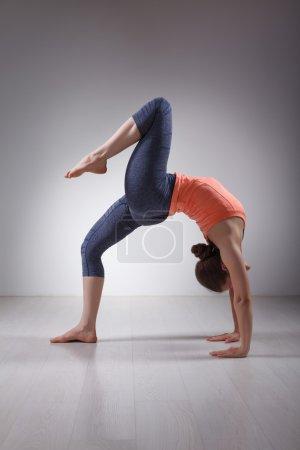 Photo for Beautiful sporty fit yogini woman practices yoga asana eka pada chakrasana or eka pada urdva dhanurasana  - one-legged wheel pose or one-legged upward facing bow pose in studio - Royalty Free Image