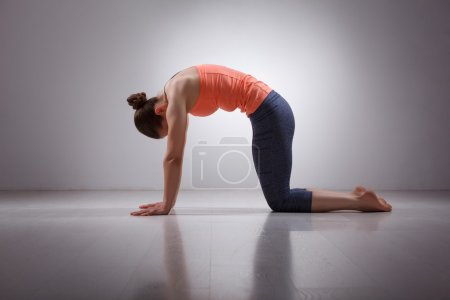 Beautiful sporty fit yogini woman practices yoga a...