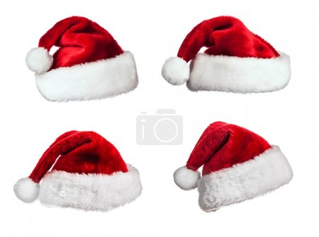 Santa hats on white