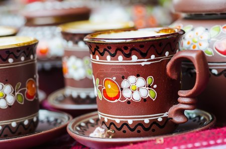 Photo for Cup with national ukrainian ornament at market in Lviv - culture capital of Ukraine - Royalty Free Image