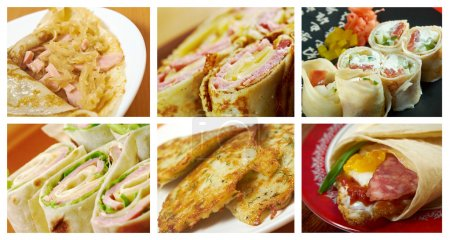 Photo for Food set of different rolled pancakes stuffed . collage - Royalty Free Image