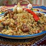 Oriental  pilaf .Uzbek cuisine -Central Asian cuis...