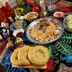 Food set  Central Asian cuisine - plov, lagman,she...