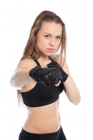 Woman boxing in the studio