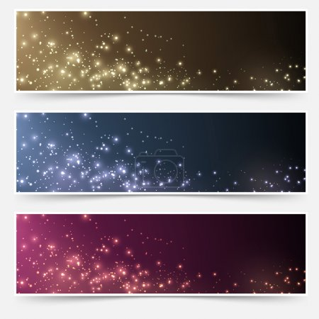 Illustration for Vector illustration of Magic Christmas headers collection - Royalty Free Image