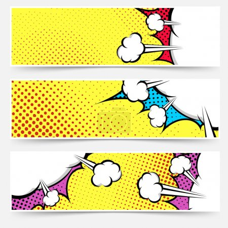 Illustration for Pop art comic book yellow header collection - dotted web footer explosion bubble set background. - Royalty Free Image