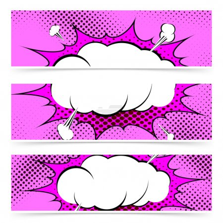 Illustration for Comic book pop art style web header collection with explosion steam cloud. Vector illustration - Royalty Free Image
