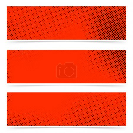 Pop art style dotted red banners