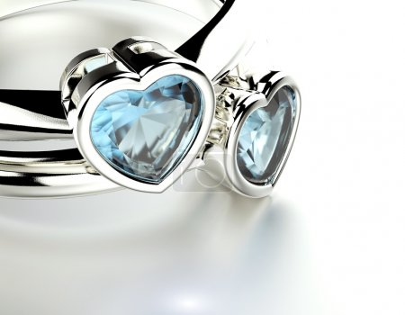 Rings with Blue topaz or aquamarine  heart shape. ...