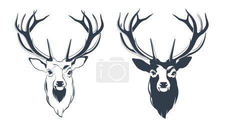Illustration pour Illustration vectorielle d'une tête masculine de cerf rouge - image libre de droit