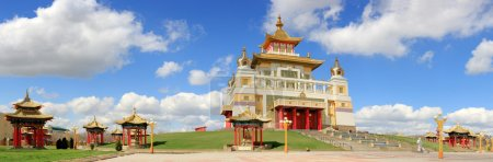 Clouds over the Buddhist temple. Golden Abode of Buddha Shakyamu