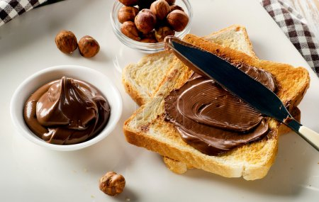 Toast with chocolate spread