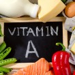 Natural Products rich in vitamin A with blackboard...