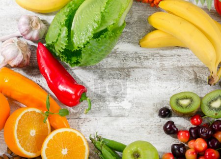 Photo for Natural sources of vitamin C.  Healthy diet food. Flat lay - Royalty Free Image