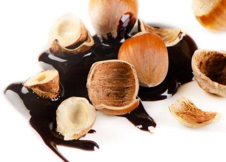 Hazelnuts and chocolate sauce