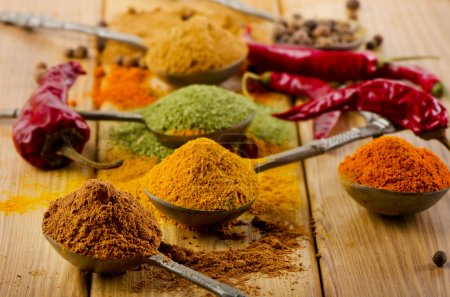Dried spices and chilli .