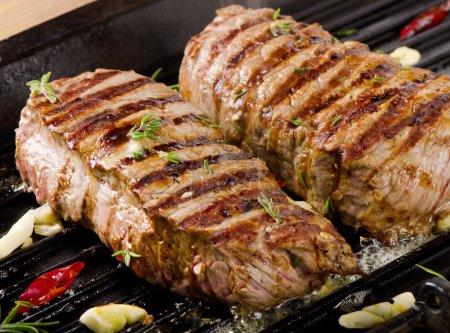 Beef steaks on   grill pan