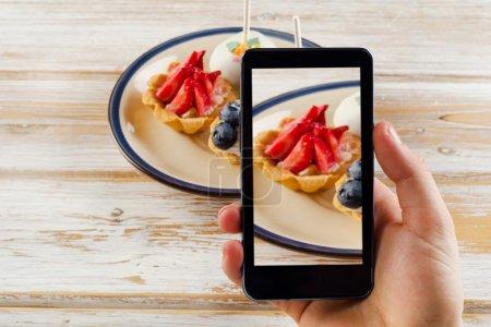 Smartphone shot of sweet dessert