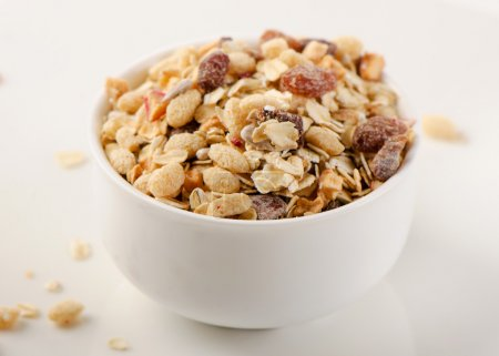 Photo for Healthy muesli breakfast in a bowl  . Selective focus - Royalty Free Image