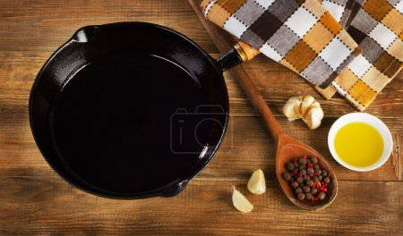 Cast iron skillet on a rustic wooden background.