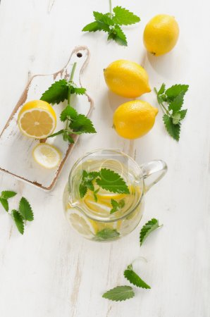 Water with fresh lemon and mint