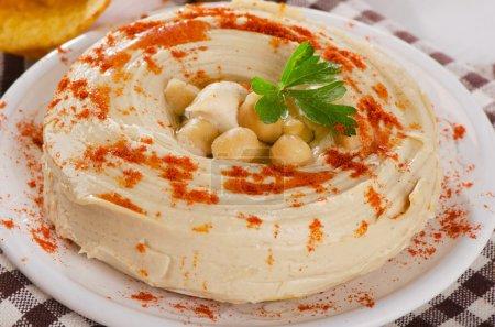 Plate of Healthy Creamy Hummus dip