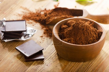 Chocolate bars with cacao powder.