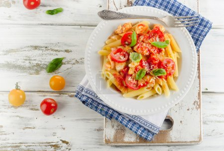 Photo for Pasta with Chicken,Bolognese Sauce, Parmesan Cheese and Basil. Italian healthy food. Top view - Royalty Free Image