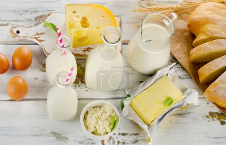 Dairy products, bread and eggs
