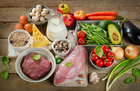 Assortment of Fresh Vegetables and Meats for Healt...
