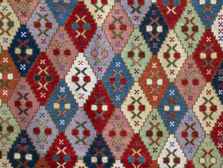 Photo for Georgian handmade sumakh from Borchali (historical name of the province in southern Georgia largely populated by ethnic Azerbaijanis). It is part of the present day region of Kvemo Kartli. Georgian folk seamless pattern ornaments. Ethnic texture desi - Royalty Free Image