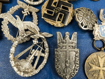 Nazi insignia on the tray of Antiquities in Kolomyia, Ukraine