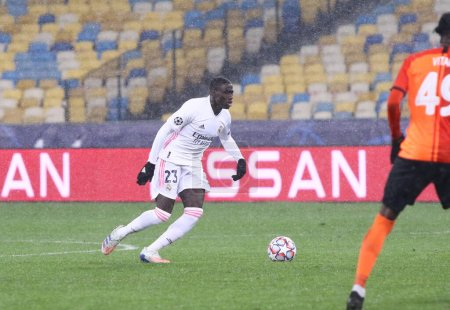 Photo for KYIV, UKRAINE - DECEMBER 1, 2020: Ferland Mendy of Real Madrid in action during the UEFA Champions League game against Shakhtar Donetsk at NSC Olimpiyskyi stadium in Kyiv. Real Madrid lost 0-2 - Royalty Free Image