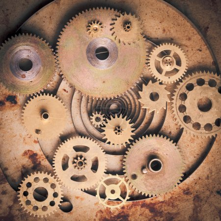 Photo for Steampunk background from mechanical clocks details over old metal background. Inside the clock, gears - Royalty Free Image