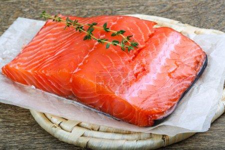 Salmon fillet served fresh