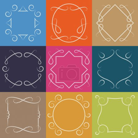 Illustration for Vector set of retro monograms. Elegant Outline borders and decorative frames, abstract hipster templates. - Royalty Free Image