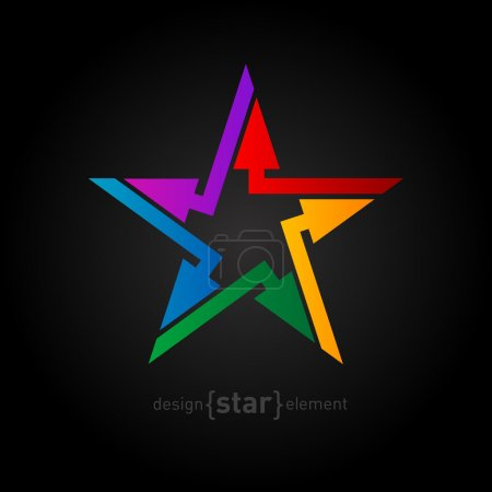 Colorful 3d star logo with arrows. Star-shaped vec...