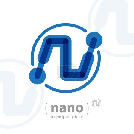 Illustration for Nano technology logo template. Future hi-tech icon. Vector Electronics concept. - Royalty Free Image