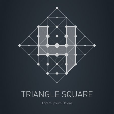 Illustration for Modern stylish low poly logo with number  4. Low-poly Design element with squares, triangles and rhombus. Vector Lowpoly logotype template. - Royalty Free Image