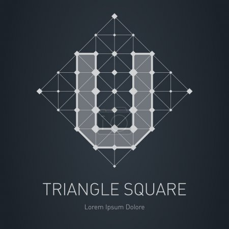Illustration for Modern stylish low poly logo with letter U. Low-poly Design element with squares, triangles and rhombus. Vector Lowpoly logotype template. - Royalty Free Image